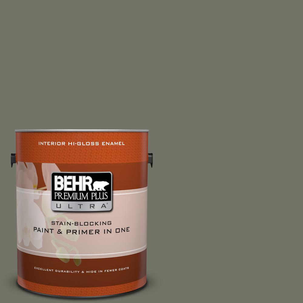 BEHR Premium Plus Ultra 1 gal. #BXC-44 Pepper Mill Hi-Gloss Enamel Interior Paint by