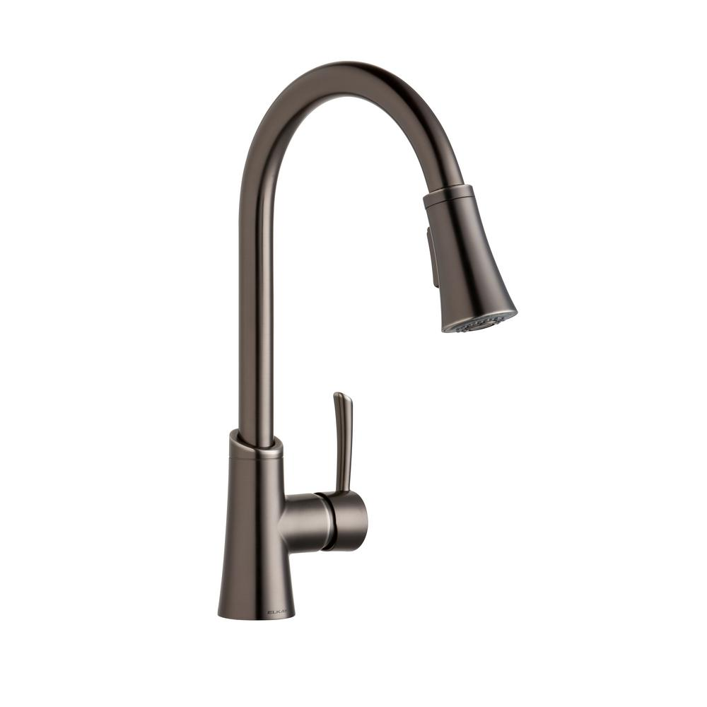 Elkay Gourmet Single Handle Pull Down Sprayer Kitchen Faucet In Antique  Steel