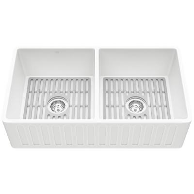 Matte Stone White Composite 33 in. Double Bowl Farmhouse Apron-Front Kitchen Sink Set with Strainers and Silicone Grids