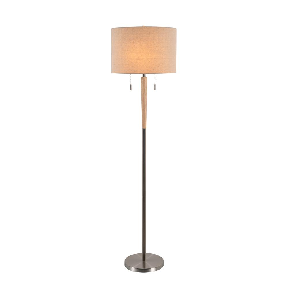 Kenroy Home Sonata 58 in. Brushed Steel Floor Lamp with Cream Drum Shade