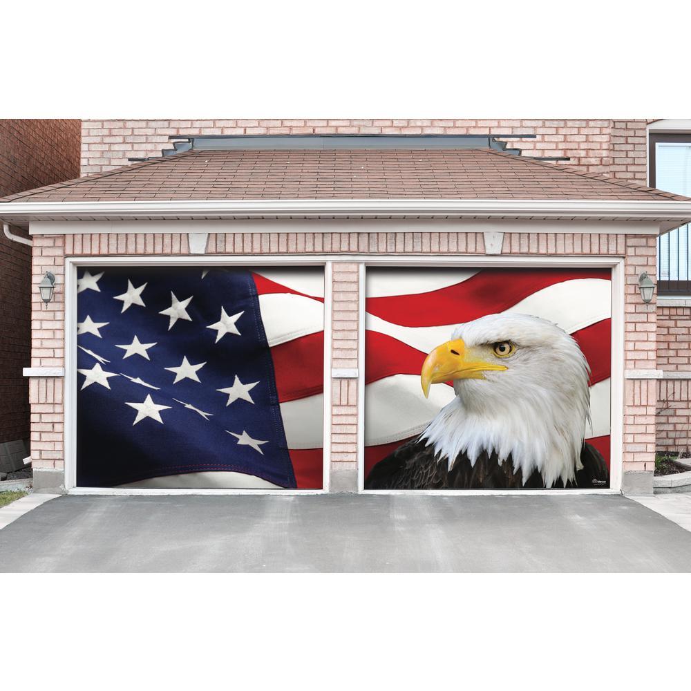 My Door Decor 7 Ft X 8 Ft Usa Flag And Eagle Patriotic Garage Door Decor Mural For Split Car Garage 285901patr 011 The Home Depot