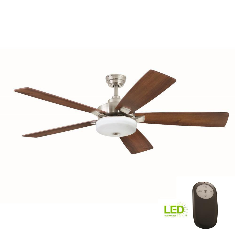 Home Decorators Collection Cameron 54 In Integrated Led Indoor Brushed Nickel Ceiling Fan With Light