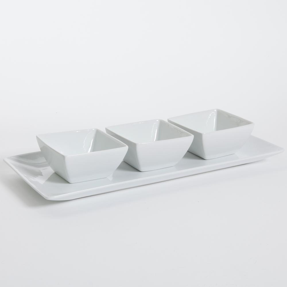 Gracious Dining 4-Piece White Ceramic Tray with Three Square Serving Dishes