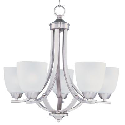 Axis 5-Light Satin Nickel Chandelier with Frosted Shade