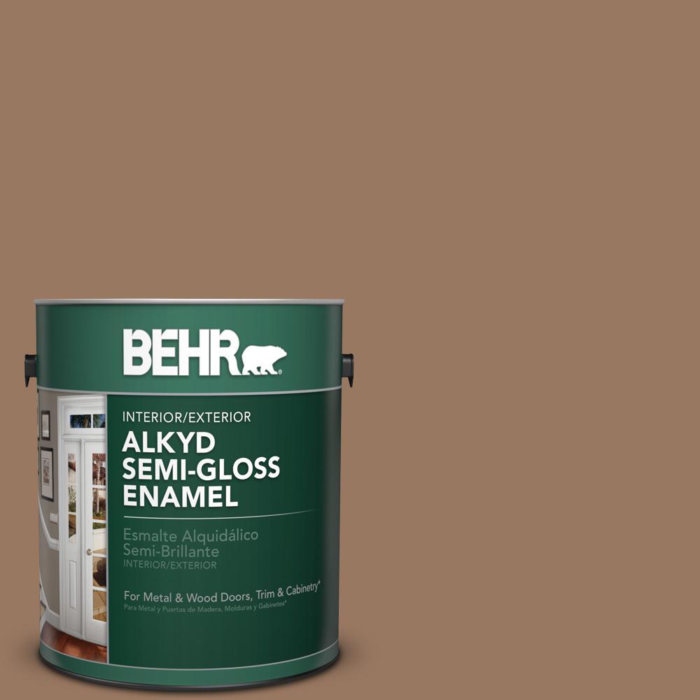 1 gal. #MS-18 Clay Brown Semi-Gloss Enamel Alkyd Interior/Exterior Paint