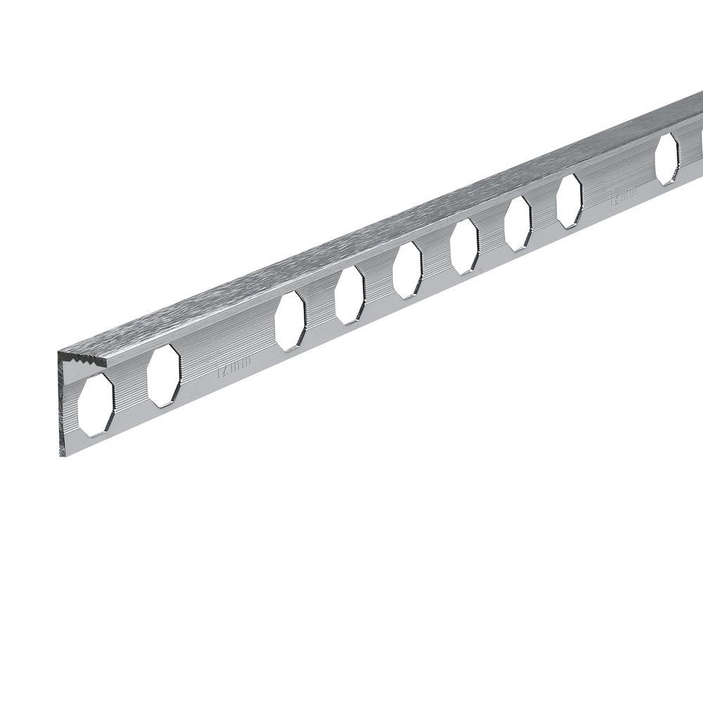 Novosuelo Brushed Mirror 3/8 in. x 98-1/2 in. Aluminum Tile Edging Trim