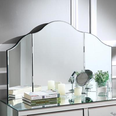 Renee Frameless Modern Contemporary Tri-fold Tabletop Vanity Mirror, No Color