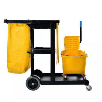 Yellow ABS Plastic Janitorial Cleaning Cart with Mop Bucket Combo and Caution Wet Floor Sign