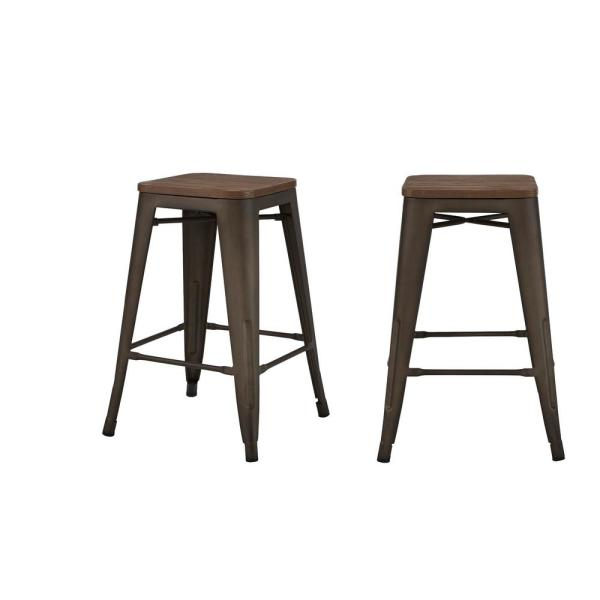 Finwick Matte Gunmetal Gray Metal Backless Counter Stool with Wood Seat (Set of 2) (16.54 in. W x 23.62 in. H)