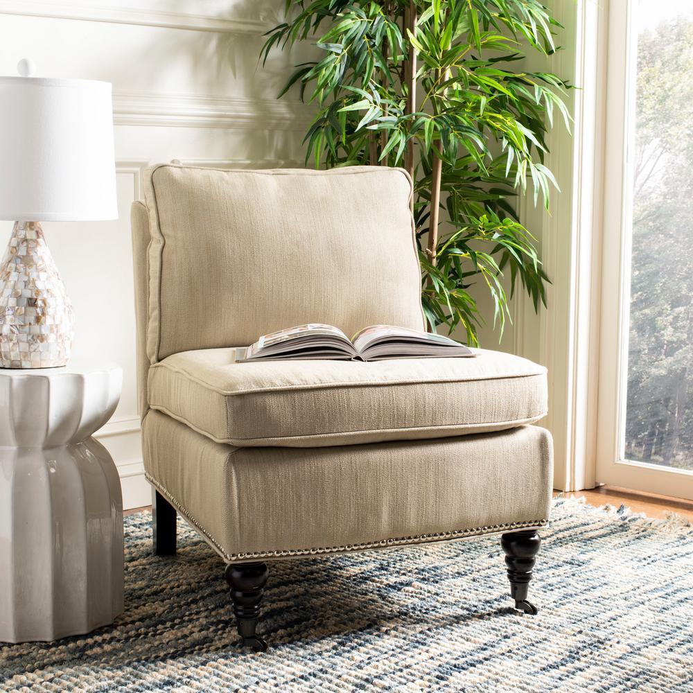 Randy Off White Linen Slipper Chair