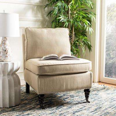 Randy Off White Linen Slipper Chair