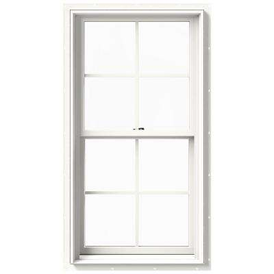 25.375 in. x 48 in. W-2500 Series White Painted Clad Wood Double Hung Window w/ Natural Interior and Screen