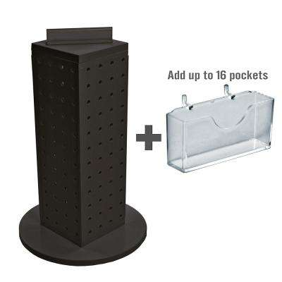 12 in. H x 4 in. W Pegboard Tower with 16-Gift Pockets in Black