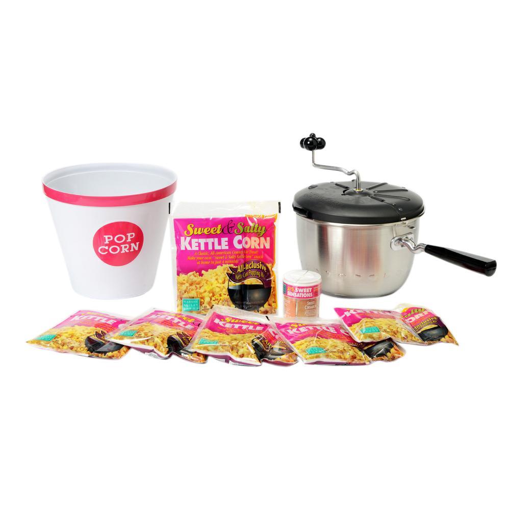 Sweet & Easy Snack Machine 4-Piece Stainless Steel Popcorn Popper Set