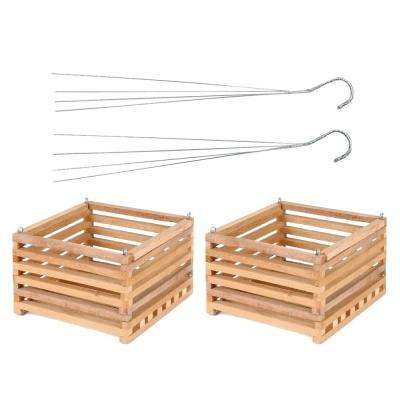 10 in. Wooden Square Hanging Baskets (2-Pack)