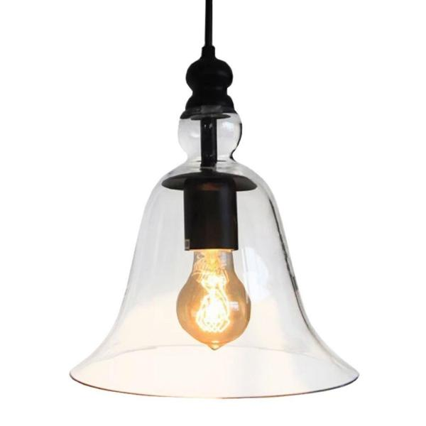 Edison Marlowe Collection 1-Light Black Clear Glass Indoor Pendant