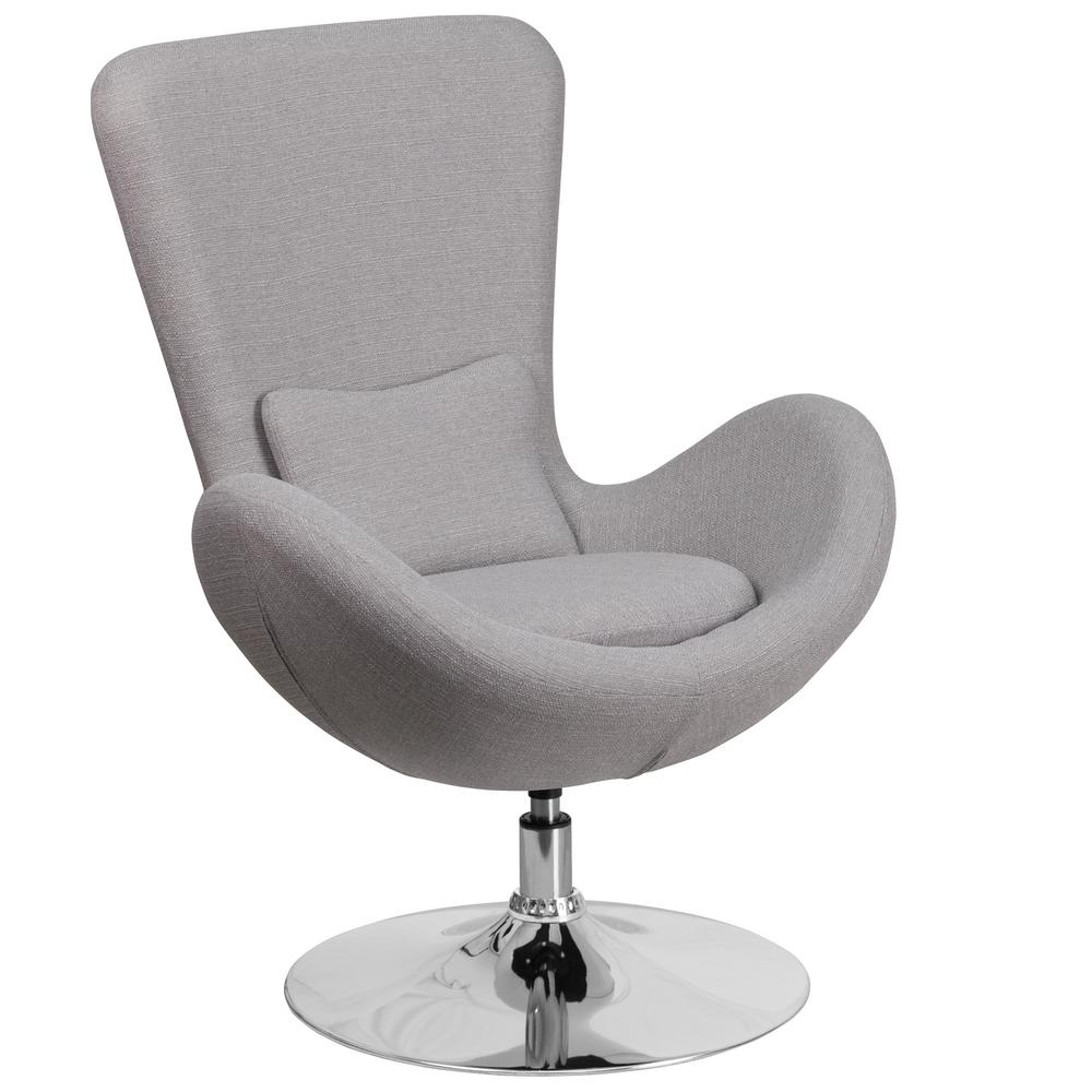 Light Gray Fabric Egg Series Reception-Lounge-Side Chair