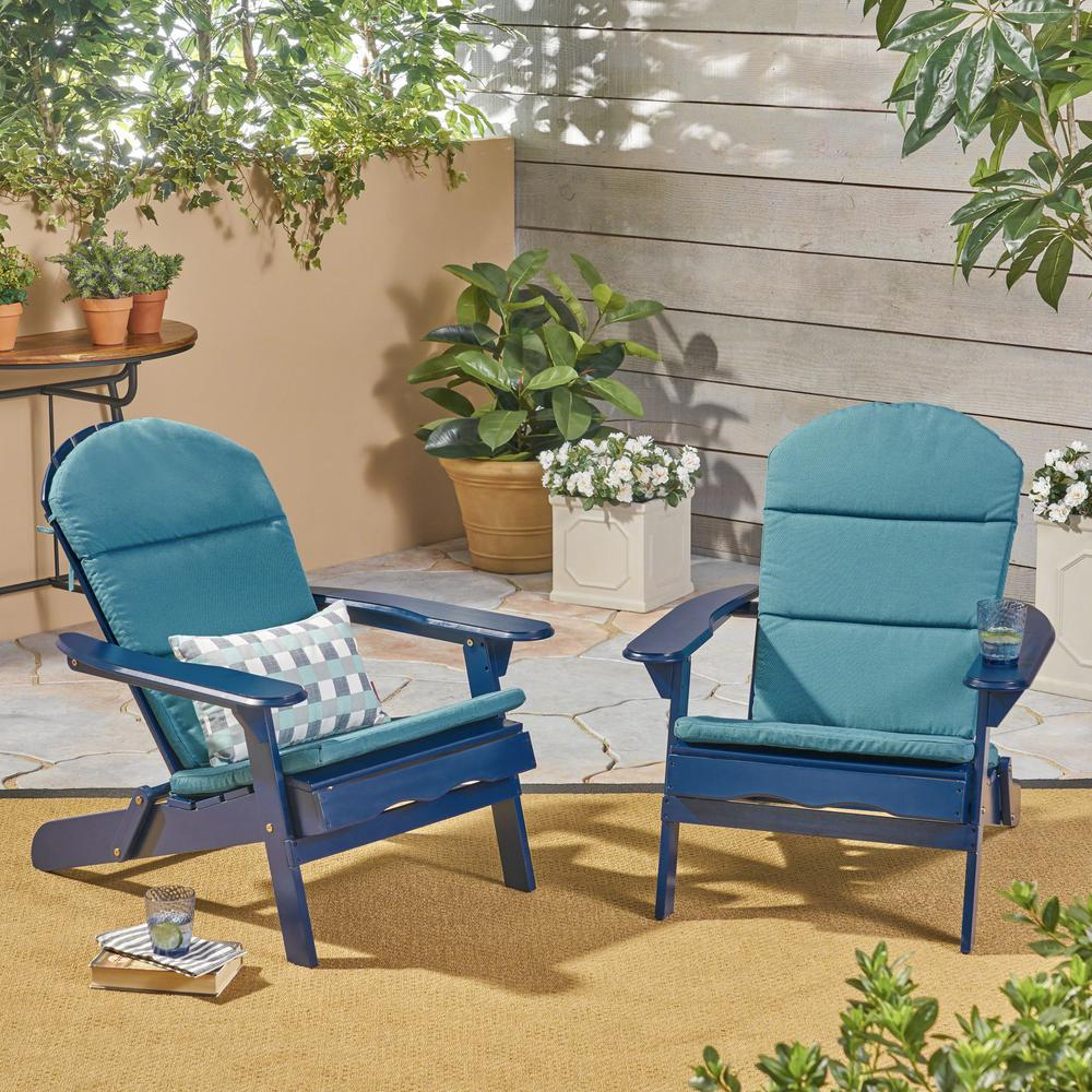 Superbe Malibu Navy Blue Folding Wood Adirondack Chairs With Dark Teal Cushions  (2 Pack)