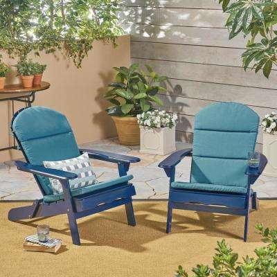 Malibu Navy Blue Folding Wood Adirondack Chairs with Dark Teal Cushions (2-Pack)