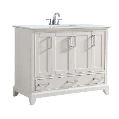 Elise 43 in. W x 21.5 in. D x 34.5 in. H Vanity in Soft White with Stone Vanity Top in Bombay White with White Basin
