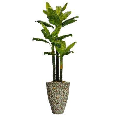 86 in. Tall Real Touch Evergreen in Planter