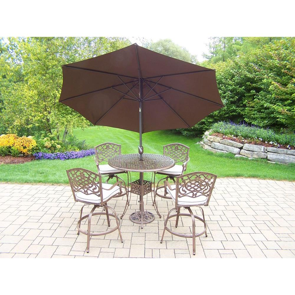 Cast Aluminum Patio Furniture Heart Pattern: Bar Height Dining Sets