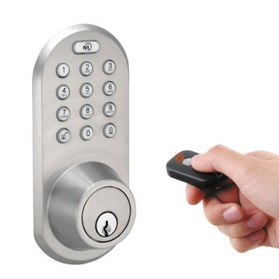 Single Cylinder Satin Nickel Touch Pad and Remote Electronic Deadbolt