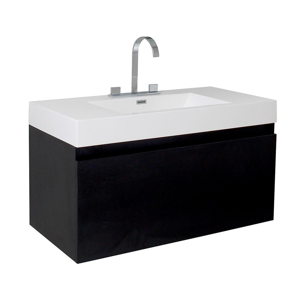 Fresca Mezzo 40 in. Bath Vanity in Black with Acrylic Vanity Top in ...