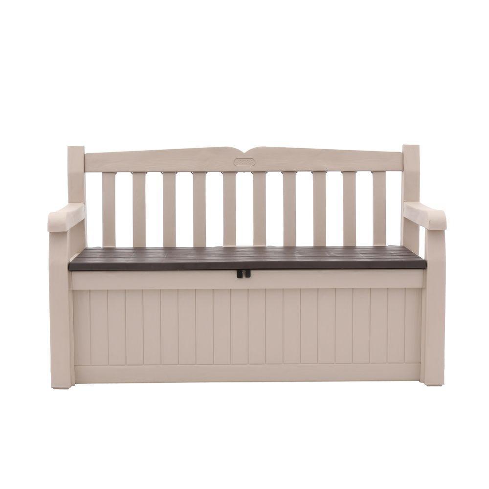 Outdoor Garden Patio Deck Box Bench in Beige and Brown  sc 1 st  Home Depot & Keter Eden 70 Gal. Outdoor Garden Patio Deck Box Bench in Beige and ...