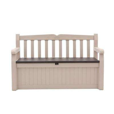 Eden 70 Gal Outdoor Garden Patio Deck Box Bench In Beige And Brown