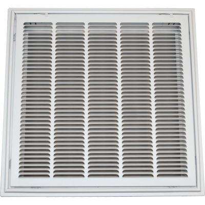 24 in. x 24 in. Drop Ceiling T-Bar Stamped Face Return Air Filter Grille, White