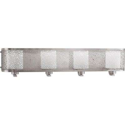 Mingle Collection 4-Light Brushed Nickel Vanity Light with Etched Parchment Glass Shades