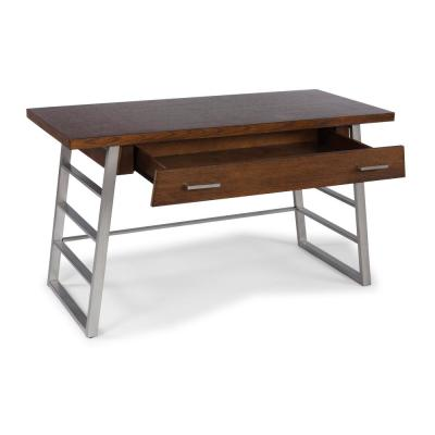 54 in. Rectangular Brown 1 Drawer Writing Desk with Built-In Storage