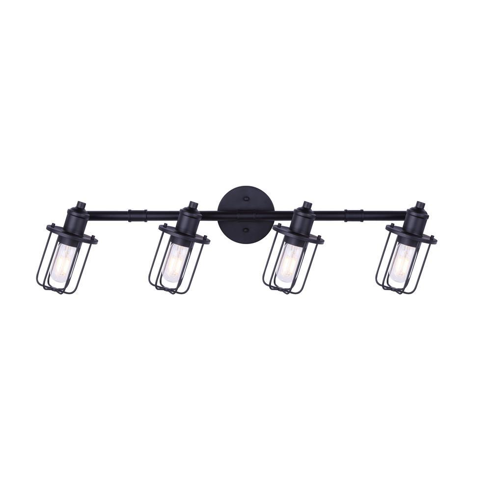 Ladd 2.7 ft. 4-Light Matte Black Incandescent or LED Track Lighting Kit