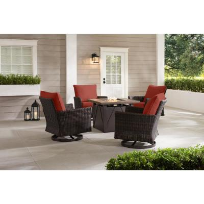 Lakeline 5-Piece Brown Metal Outdoor Patio Fire Pit Swivel Seating Set with Sunbrella Henna Red Cushions