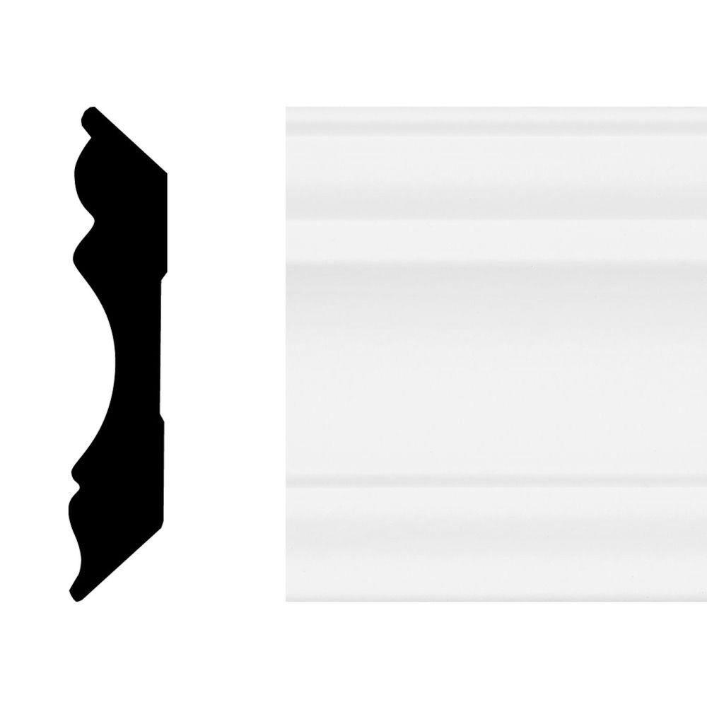 House of Fara 5/8 in. x 3-1/8 in. x 8 ft. Primed White MDF Colonial Crown Moulding