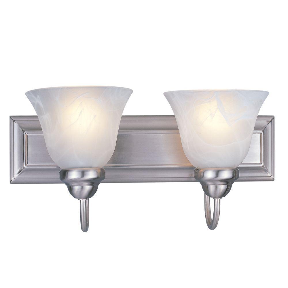 Lawrence 2-Light Brushed Nickel Incandescent Bath Vanity Light