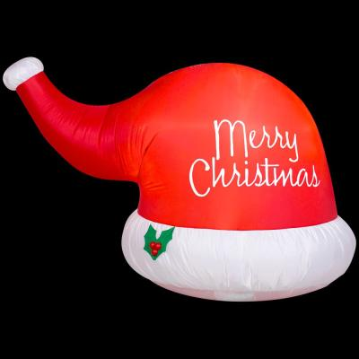 Holiday 6 ft. W Pre-lit Inflatable Big Santa Hat Airblown