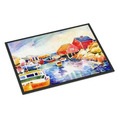 18 in. x 27 in. Indoor/Outdoor Boats at Harbour with A View Door Mat