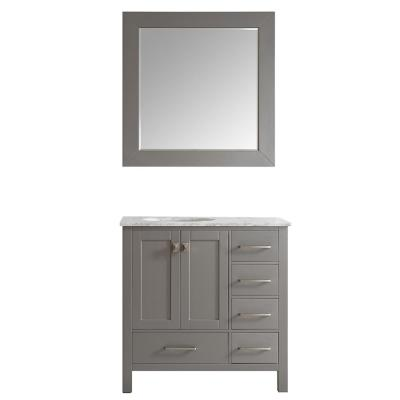 Gela 36 in. W x 22 in. D x 35 in. H Vanity in Grey with Marble Vanity Top in White with Basin and Mirror