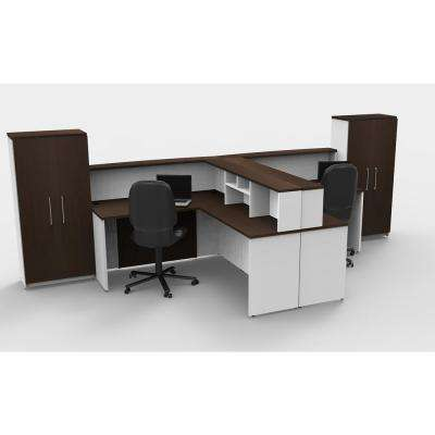 10-Piece White/Espresso Office Reception Desk Collaboration Center