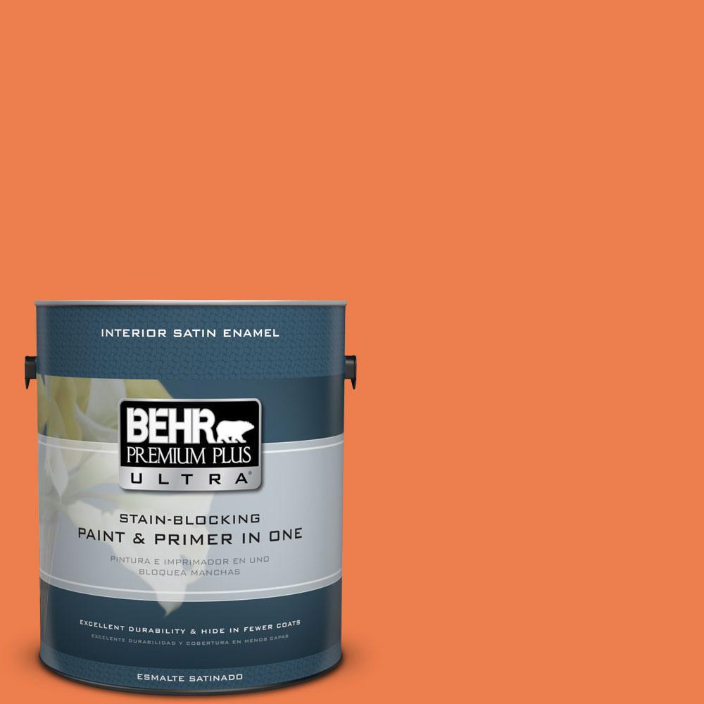 BEHR Premium Plus Ultra 1 gal. #P200-6 Sizzling Sunset Satin Enamel Interior Paint