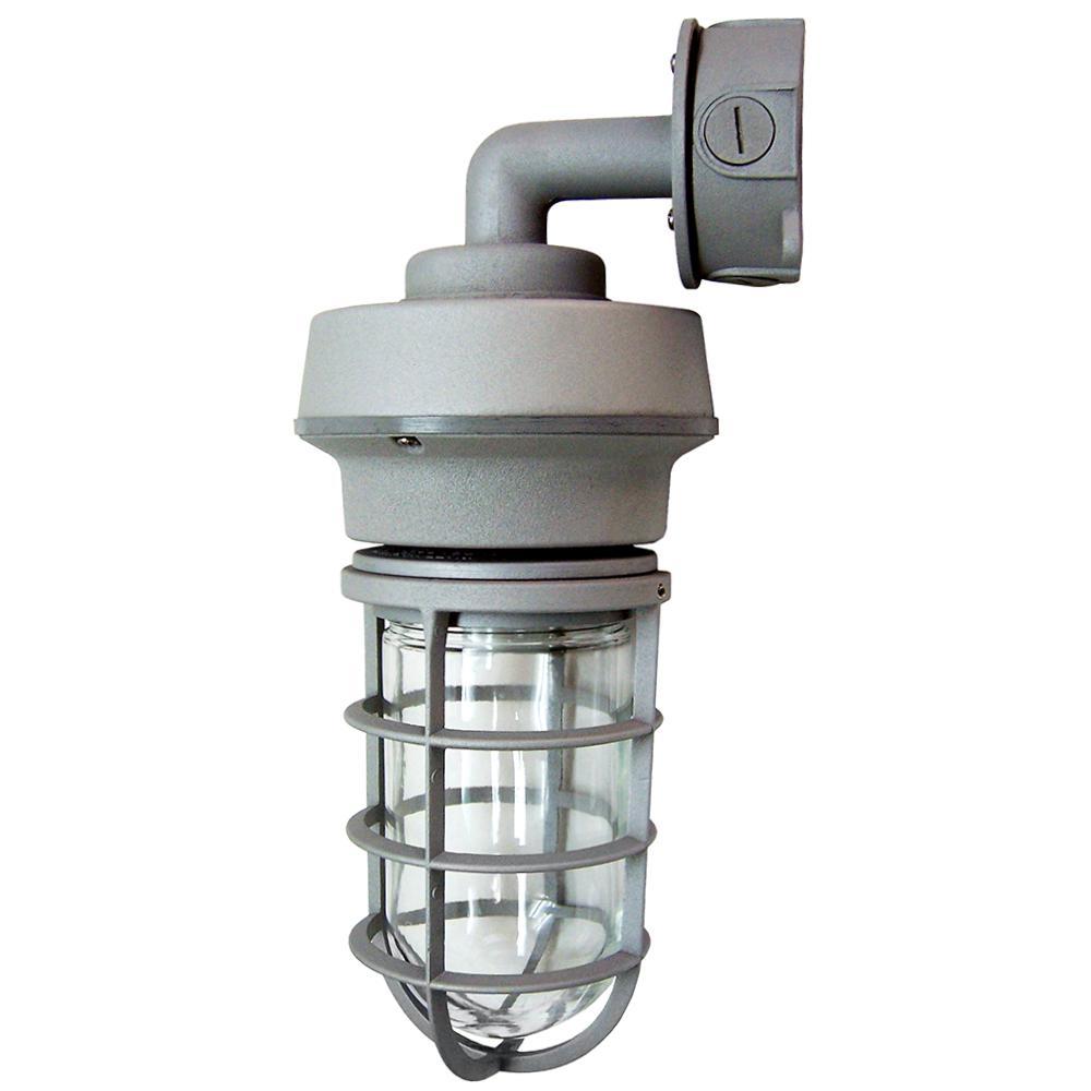 10-Watt Gray Outdoor Integrated Wall Lantern Sconce Vapor Tight Sconce