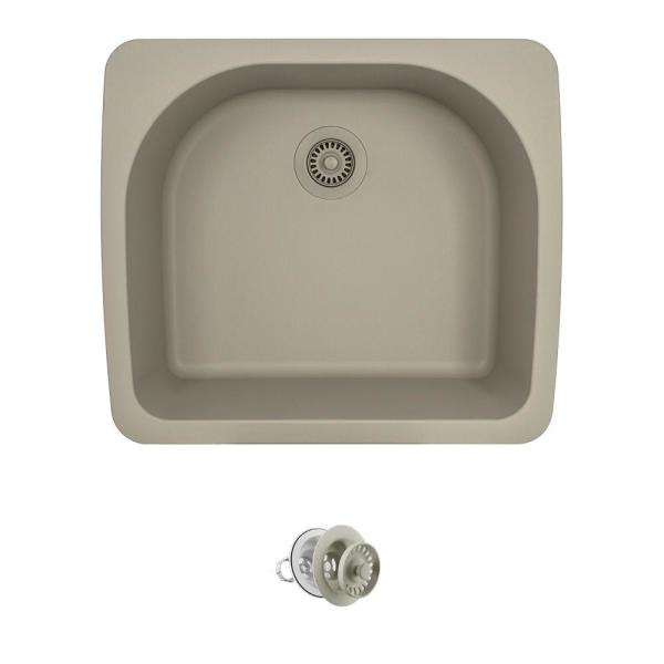 All-in-One Drop-in Granite Composite 25 in. Single Bowl Kitchen Sink in Slate