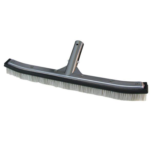 18 in. Swimming Pool & Spa Brush with Deluxe Nylon and Stainless Steel Combination Bristles and Aluminum Back
