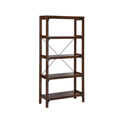 65 in. Walnut Wood 4-shelf Accent Bookcase with Open Back