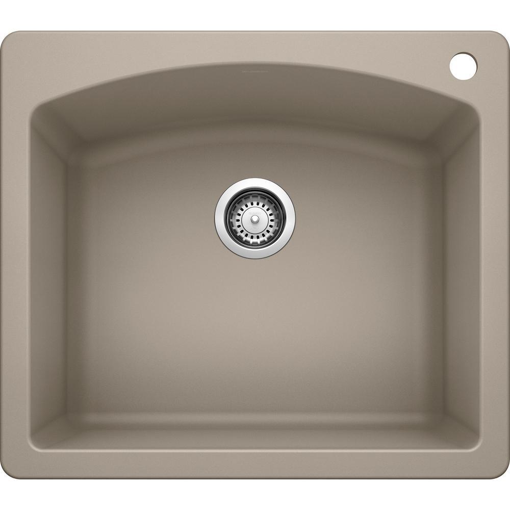 DIAMOND Dual Mount Granite Composite 25 in. 1-Hole Single Bowl Kitchen Sink in Truffle