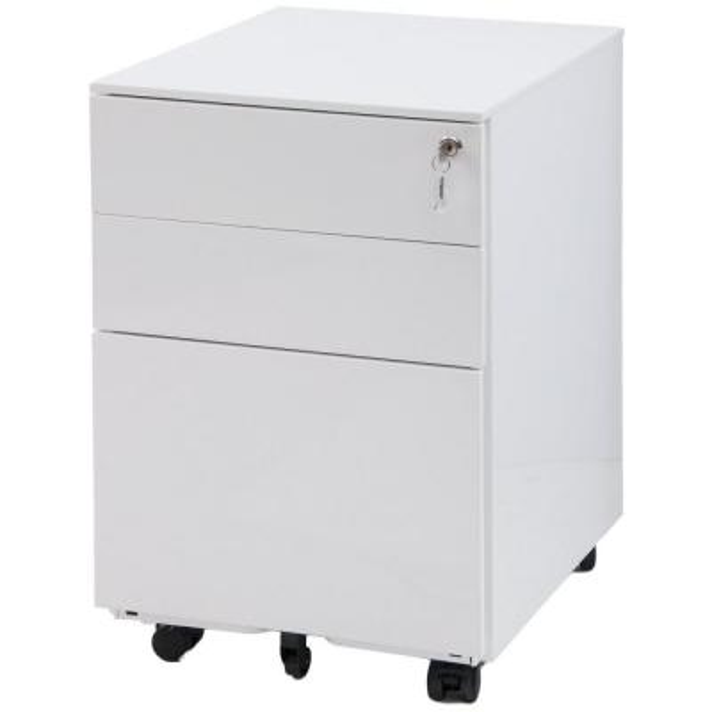 White 3-Drawer Mobile Pedestal File Cabinet