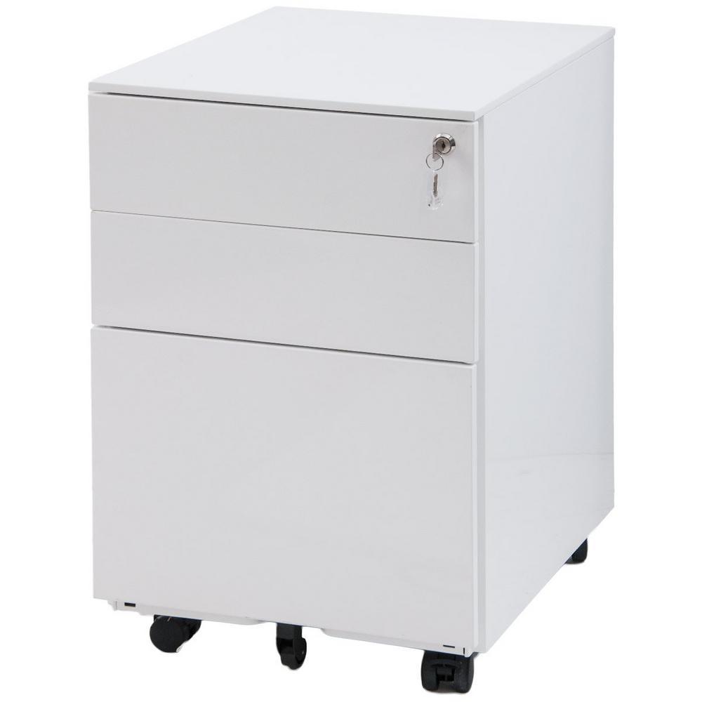 Harper & Bright Designs White 3-Drawer Mobile Pedestal File Cabinet