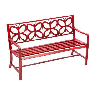 56 in. Red Butterfly Metal Outdoor Bench